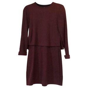 Marron sweater like long sleeve dress